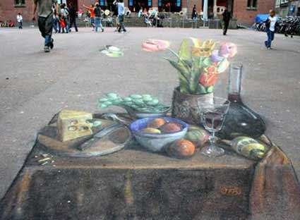 Pintura de rua super realista